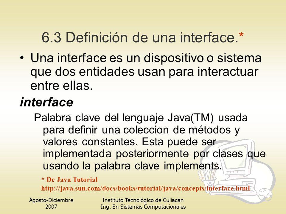 Agosto-Diciembre 2007 Instituto Tecnológico de Culiacán Ing. En Sistemas Computacionales 6.3 Definición de una interface.* Una interface es un disposi