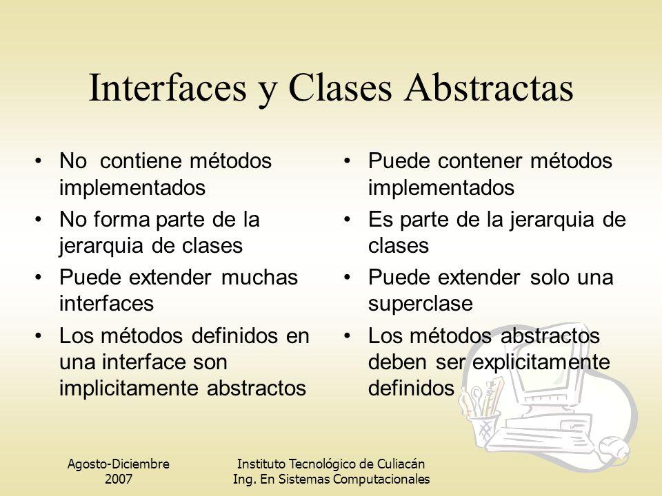 Agosto-Diciembre 2007 Instituto Tecnológico de Culiacán Ing. En Sistemas Computacionales Interfaces y Clases Abstractas No contiene métodos implementa