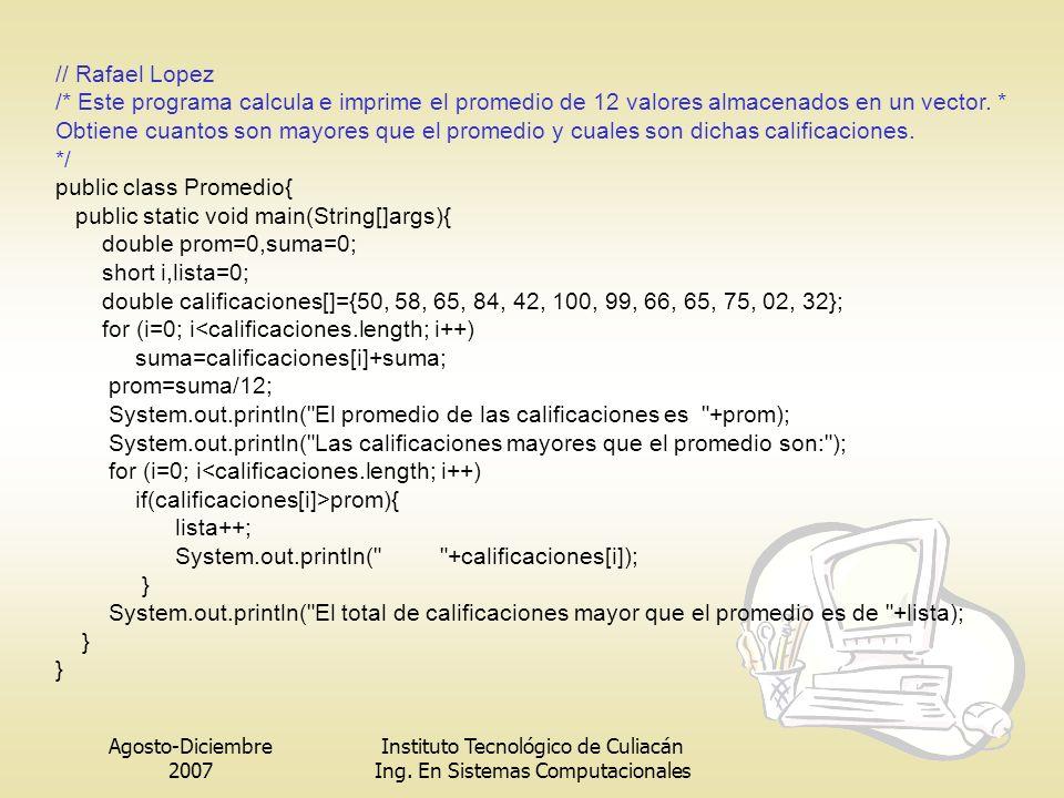 Agosto-Diciembre 2007 Instituto Tecnológico de Culiacán Ing. En Sistemas Computacionales // Rafael Lopez /* Este programa calcula e imprime el promedi