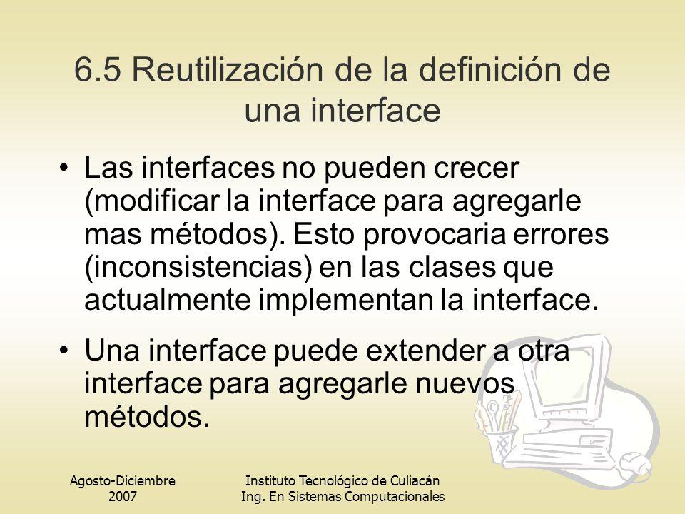 Agosto-Diciembre 2007 Instituto Tecnológico de Culiacán Ing. En Sistemas Computacionales 6.5 Reutilización de la definición de una interface Las inter