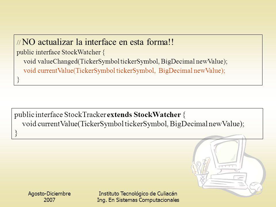 Agosto-Diciembre 2007 Instituto Tecnológico de Culiacán Ing. En Sistemas Computacionales // NO actualizar la interface en esta forma!! public interfac