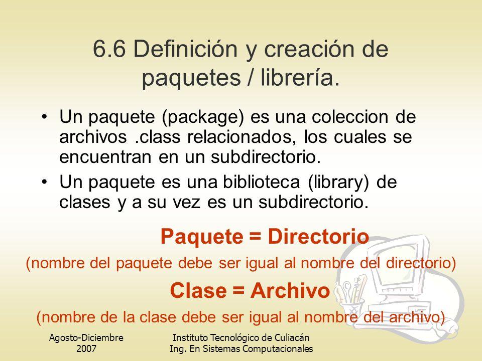Agosto-Diciembre 2007 Instituto Tecnológico de Culiacán Ing. En Sistemas Computacionales 6.6 Definición y creación de paquetes / librería. Un paquete