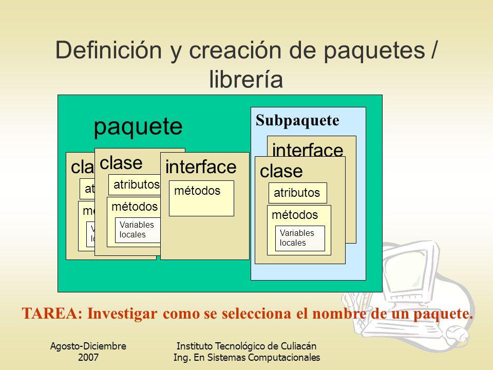 Agosto-Diciembre 2007 Instituto Tecnológico de Culiacán Ing. En Sistemas Computacionales Definición y creación de paquetes / librería paquete clase at