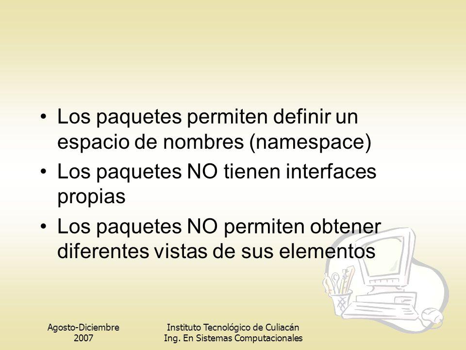 Agosto-Diciembre 2007 Instituto Tecnológico de Culiacán Ing. En Sistemas Computacionales Los paquetes permiten definir un espacio de nombres (namespac