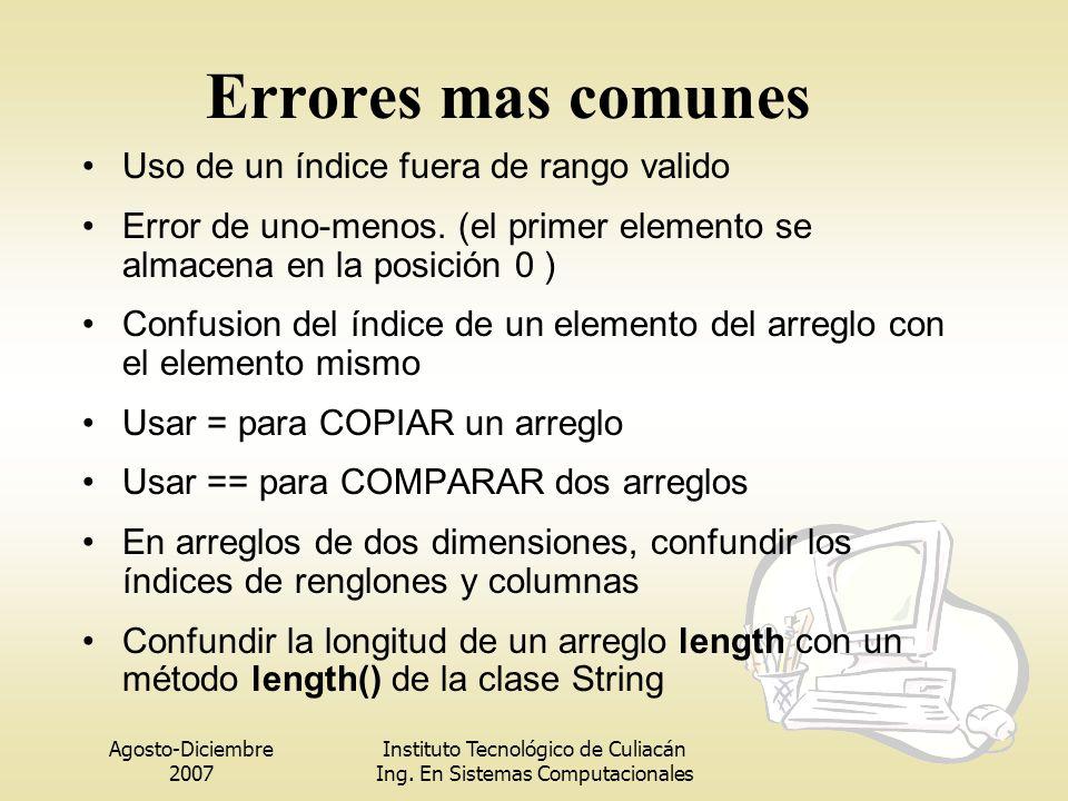 Agosto-Diciembre 2007 Instituto Tecnológico de Culiacán Ing. En Sistemas Computacionales Errores mas comunes Uso de un índice fuera de rango valido Er
