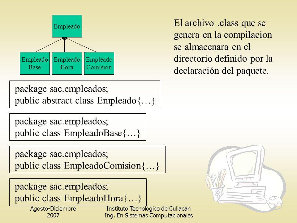 Agosto-Diciembre 2007 Instituto Tecnológico de Culiacán Ing. En Sistemas Computacionales Empleado Base Empleado Hora Empleado Comision package sac.emp