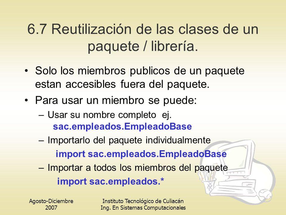 Agosto-Diciembre 2007 Instituto Tecnológico de Culiacán Ing. En Sistemas Computacionales 6.7 Reutilización de las clases de un paquete / librería. Sol