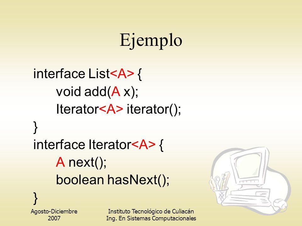 Agosto-Diciembre 2007 Instituto Tecnológico de Culiacán Ing. En Sistemas Computacionales Ejemplo interface List { void add(A x); Iterator iterator();