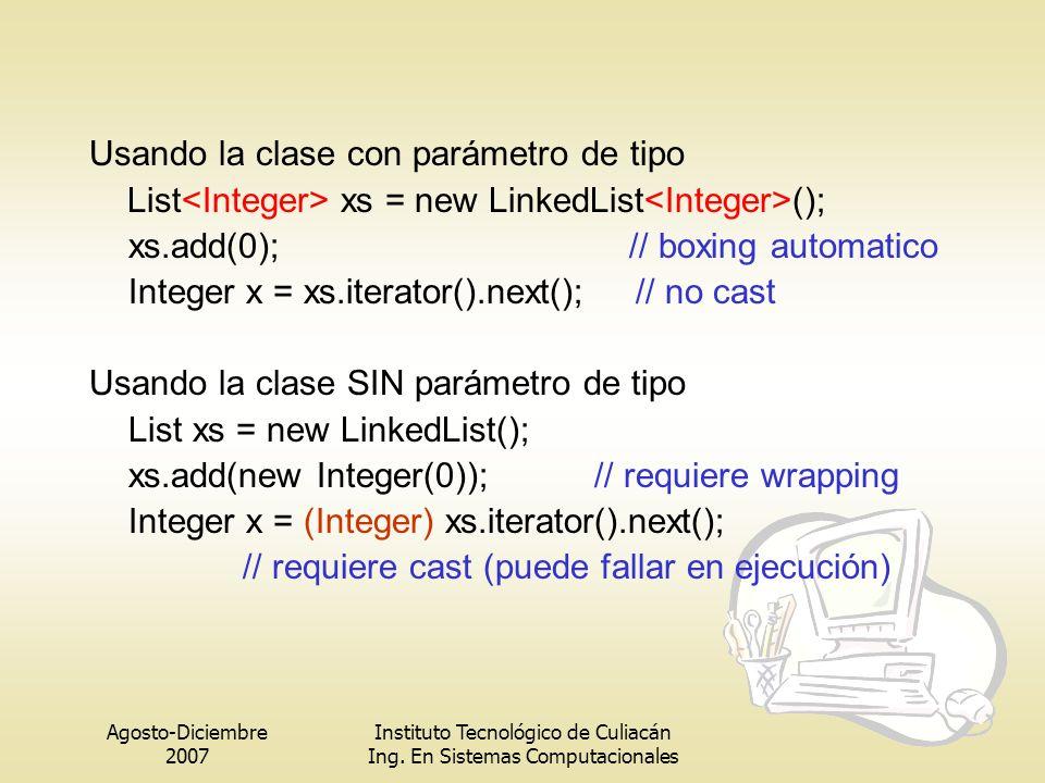 Agosto-Diciembre 2007 Instituto Tecnológico de Culiacán Ing. En Sistemas Computacionales Usando la clase con parámetro de tipo List xs = new LinkedLis