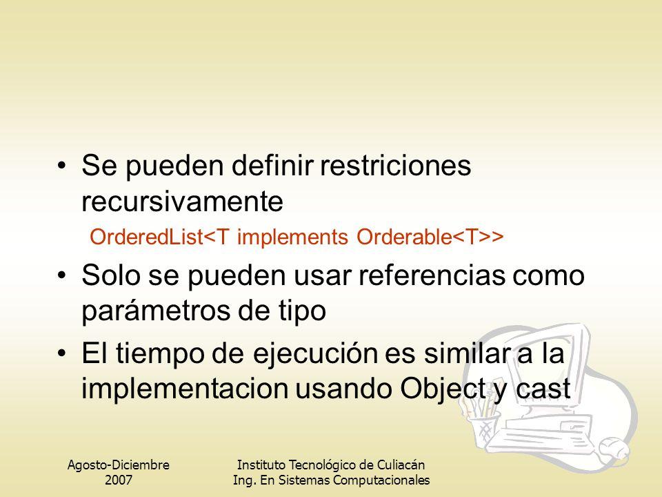 Agosto-Diciembre 2007 Instituto Tecnológico de Culiacán Ing. En Sistemas Computacionales Se pueden definir restriciones recursivamente OrderedList > S