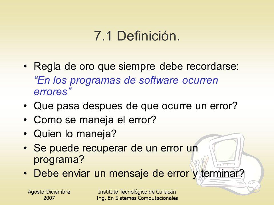 Agosto-Diciembre 2007 Instituto Tecnológico de Culiacán Ing. En Sistemas Computacionales 7.1 Definición. Regla de oro que siempre debe recordarse: En