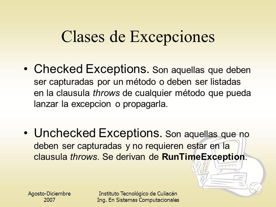 Agosto-Diciembre 2007 Instituto Tecnológico de Culiacán Ing. En Sistemas Computacionales Clases de Excepciones Checked Exceptions. Son aquellas que de
