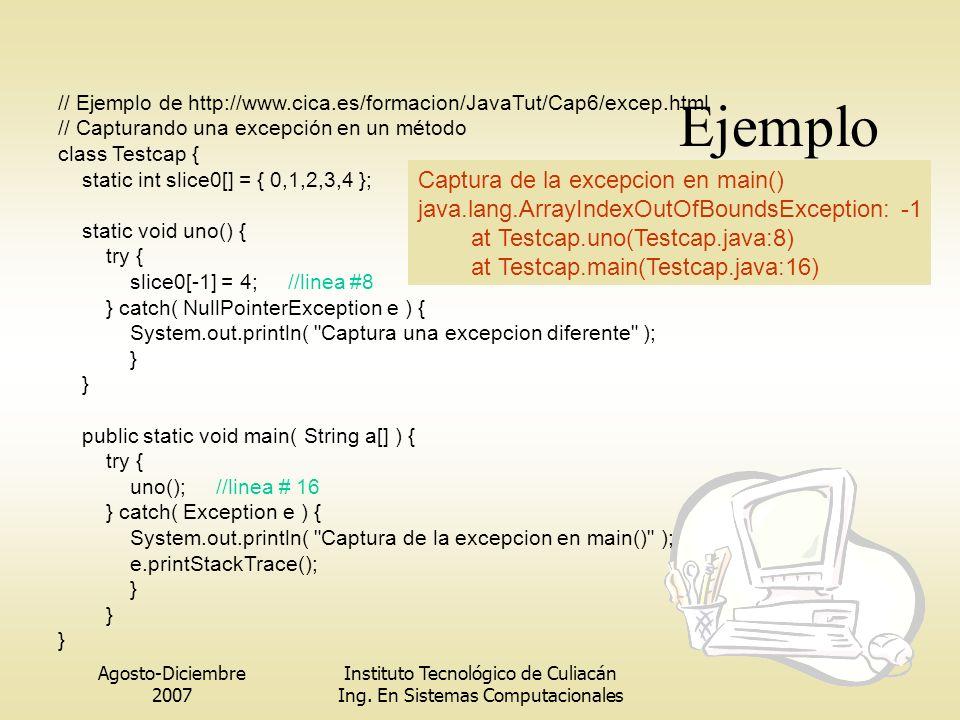 Agosto-Diciembre 2007 Instituto Tecnológico de Culiacán Ing. En Sistemas Computacionales Ejemplo // Ejemplo de http://www.cica.es/formacion/JavaTut/Ca