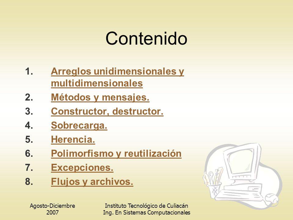 Agosto-Diciembre 2007 Instituto Tecnológico de Culiacán Ing.