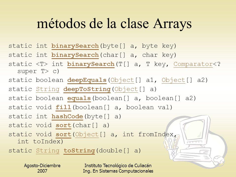 Agosto-Diciembre 2007 Instituto Tecnológico de Culiacán Ing. En Sistemas Computacionales métodos de la clase Arrays static int binarySearch(byte[] a,