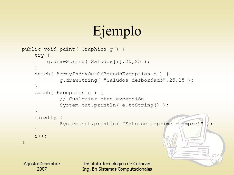 Agosto-Diciembre 2007 Instituto Tecnológico de Culiacán Ing. En Sistemas Computacionales Ejemplo public void paint( Graphics g ) { try { g.drawString(