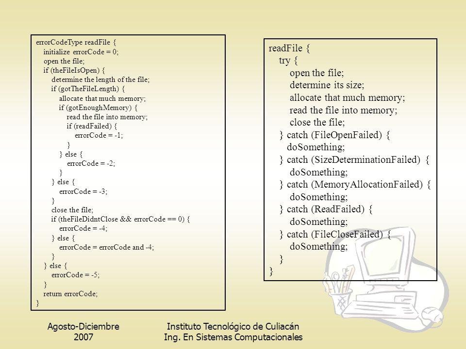 Agosto-Diciembre 2007 Instituto Tecnológico de Culiacán Ing. En Sistemas Computacionales errorCodeType readFile { initialize errorCode = 0; open the f