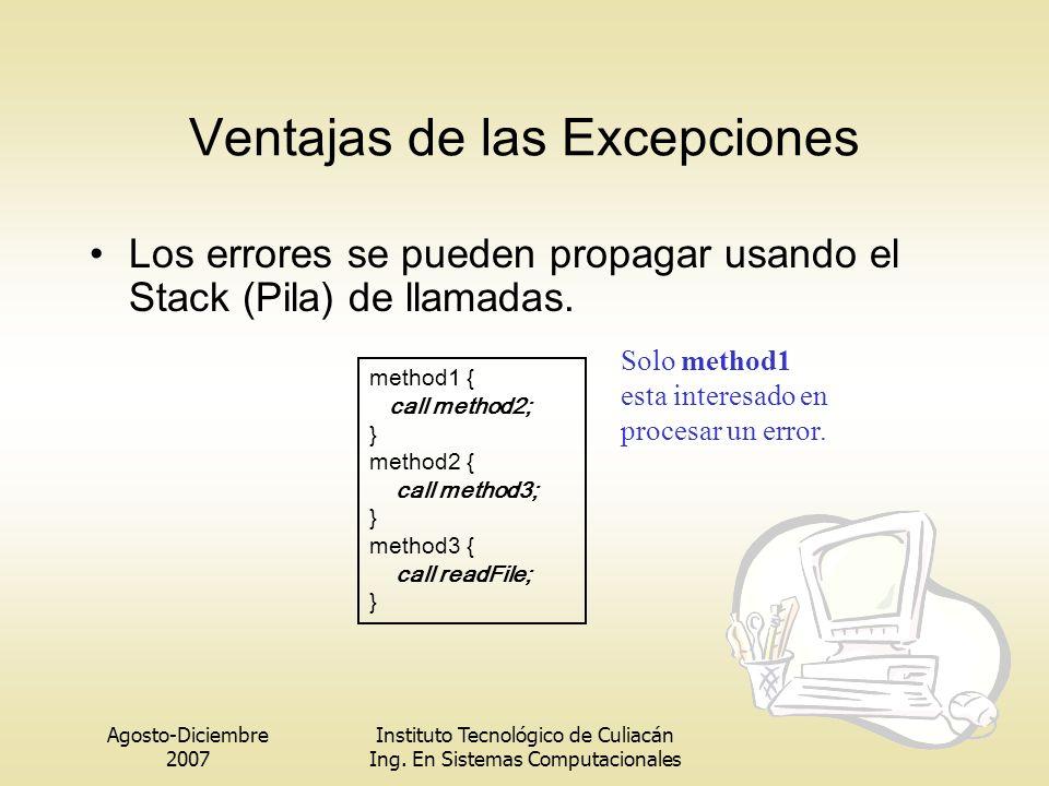 Agosto-Diciembre 2007 Instituto Tecnológico de Culiacán Ing. En Sistemas Computacionales Ventajas de las Excepciones Los errores se pueden propagar us