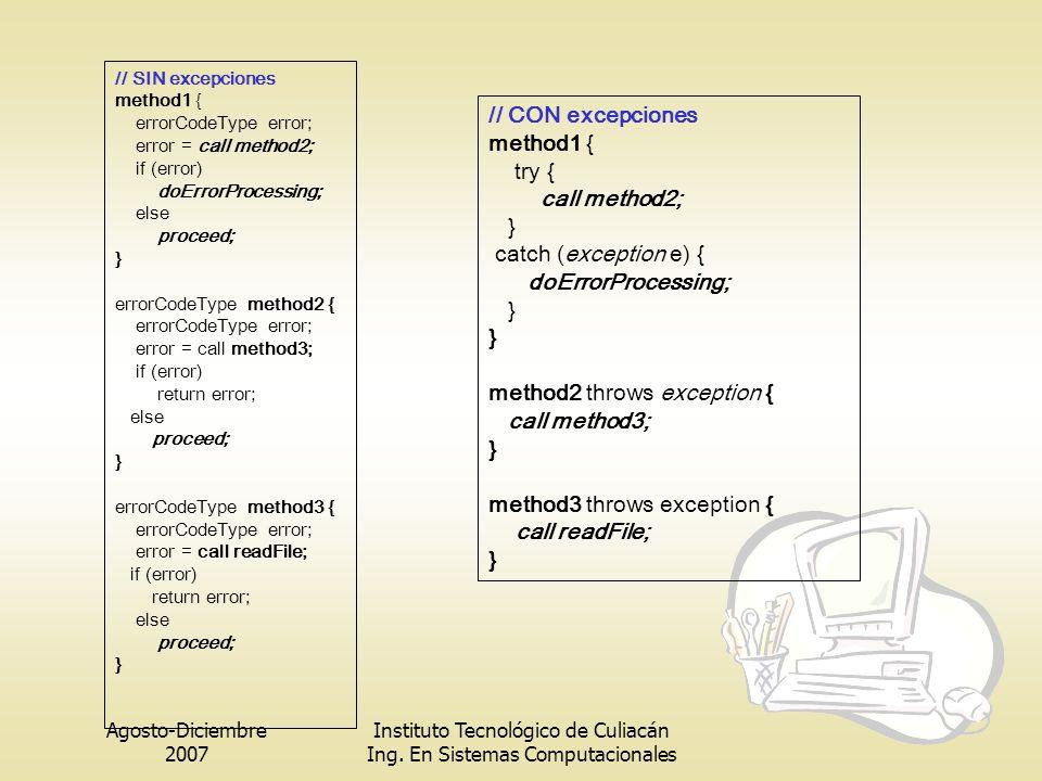 Agosto-Diciembre 2007 Instituto Tecnológico de Culiacán Ing. En Sistemas Computacionales // SIN excepciones method1 { errorCodeType error; error = cal
