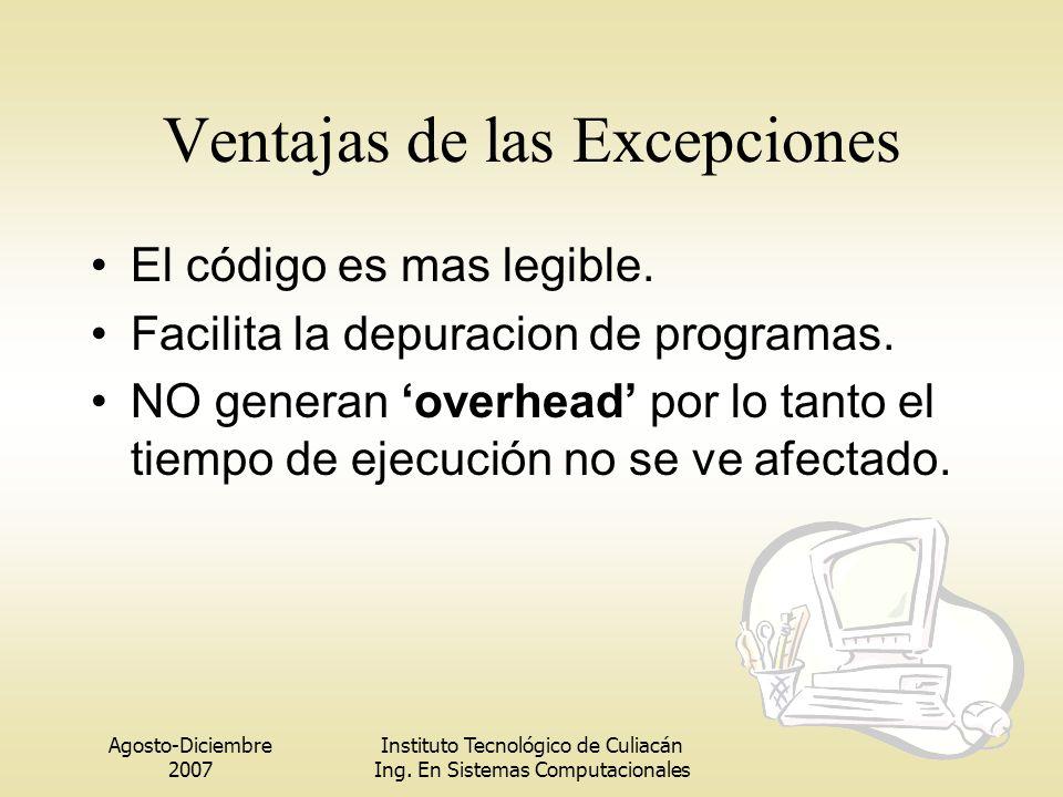 Agosto-Diciembre 2007 Instituto Tecnológico de Culiacán Ing. En Sistemas Computacionales El código es mas legible. Facilita la depuracion de programas
