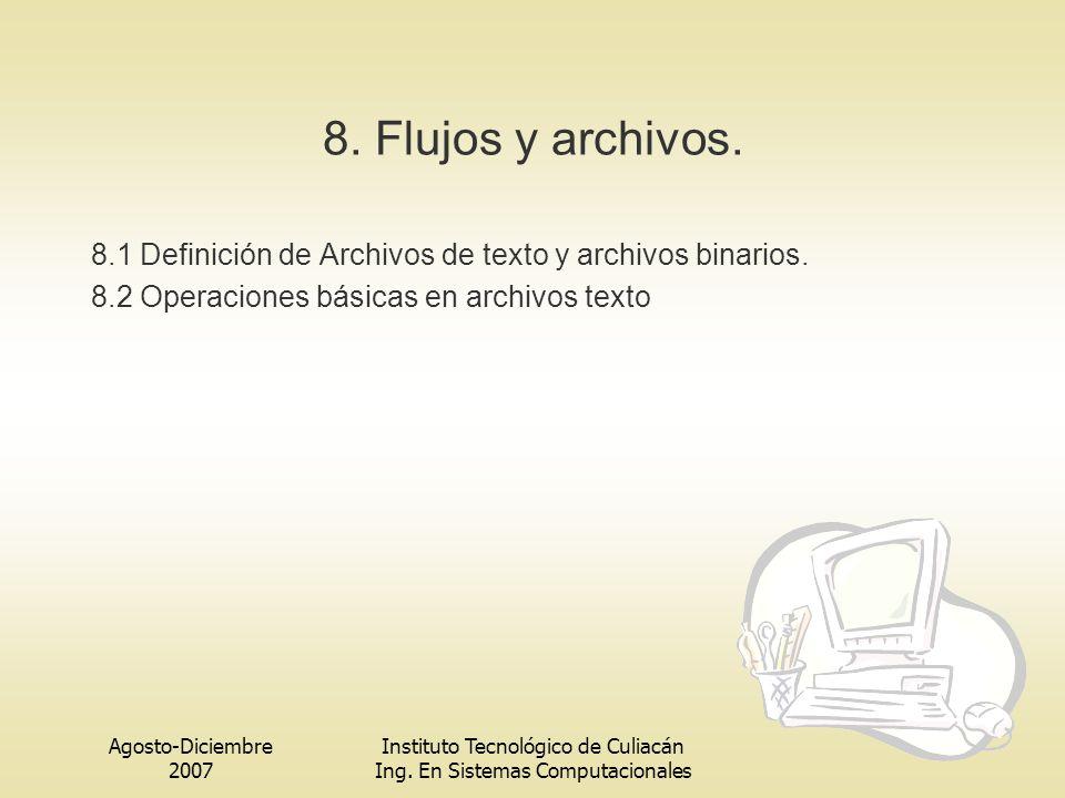 Agosto-Diciembre 2007 Instituto Tecnológico de Culiacán Ing. En Sistemas Computacionales 8. Flujos y archivos. 8.1 Definición de Archivos de texto y a