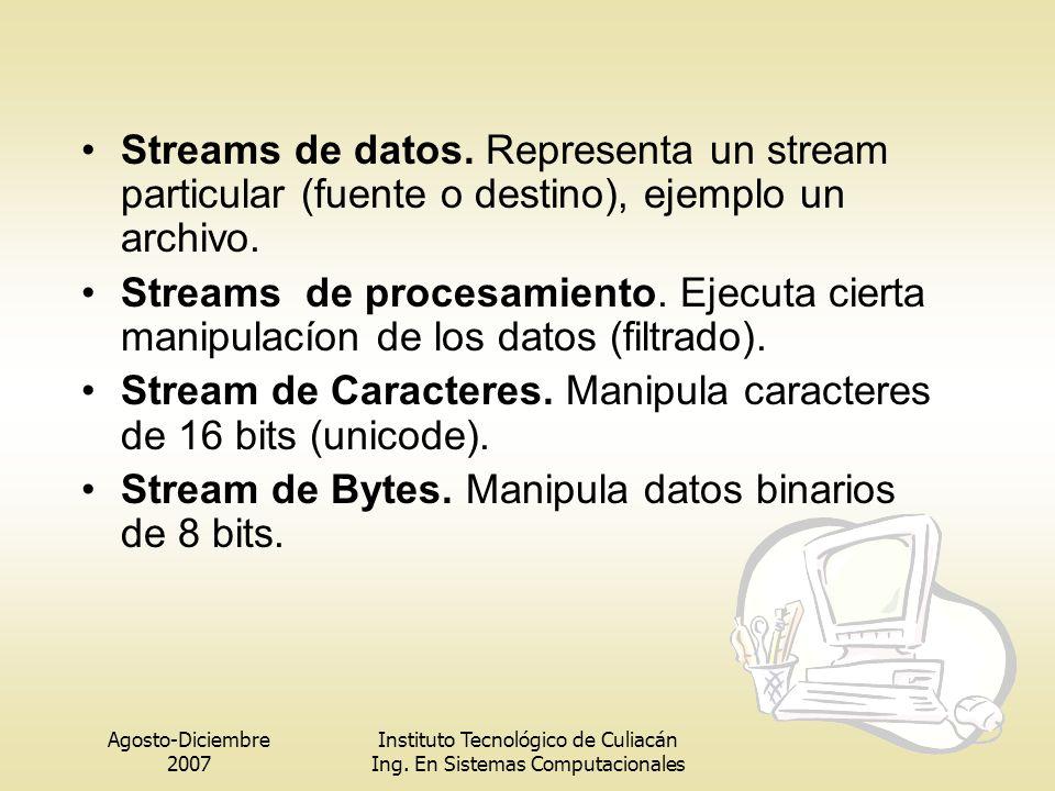 Agosto-Diciembre 2007 Instituto Tecnológico de Culiacán Ing. En Sistemas Computacionales Streams de datos. Representa un stream particular (fuente o d