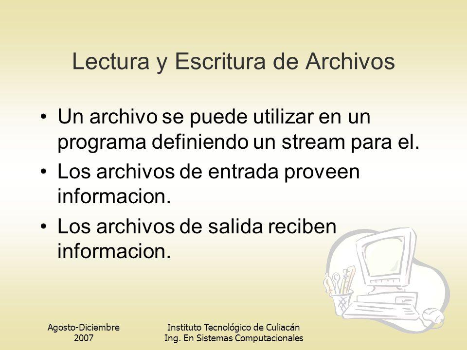 Agosto-Diciembre 2007 Instituto Tecnológico de Culiacán Ing. En Sistemas Computacionales Lectura y Escritura de Archivos Un archivo se puede utilizar