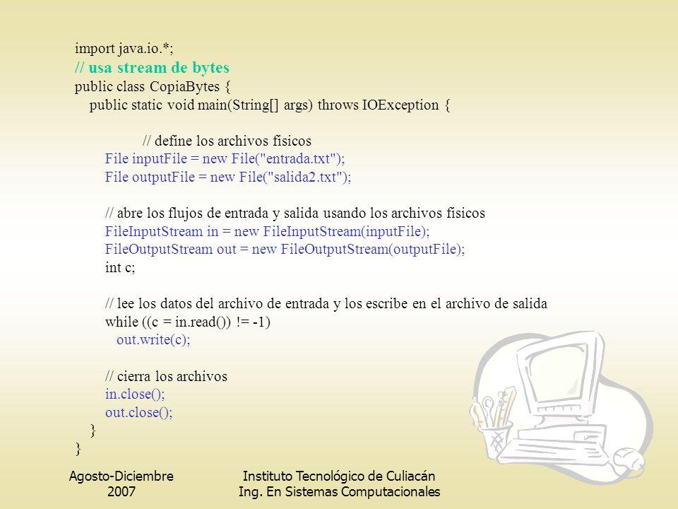 Agosto-Diciembre 2007 Instituto Tecnológico de Culiacán Ing. En Sistemas Computacionales import java.io.*; // usa stream de bytes public class CopiaBy