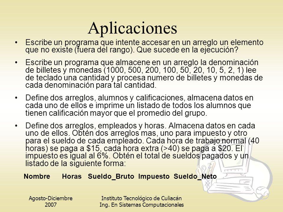Agosto-Diciembre 2007 Instituto Tecnológico de Culiacán Ing. En Sistemas Computacionales Aplicaciones Escribe un programa que intente accesar en un ar