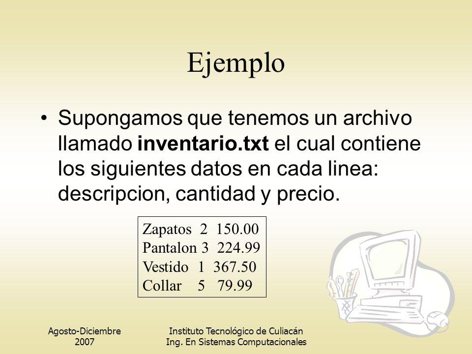 Agosto-Diciembre 2007 Instituto Tecnológico de Culiacán Ing. En Sistemas Computacionales Ejemplo Supongamos que tenemos un archivo llamado inventario.