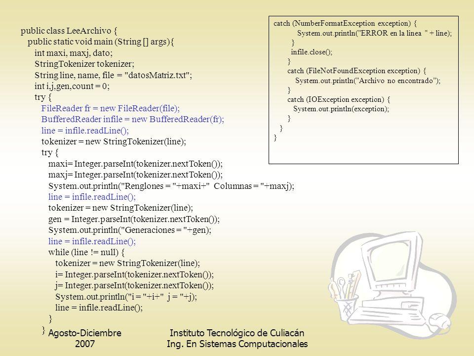 Agosto-Diciembre 2007 Instituto Tecnológico de Culiacán Ing. En Sistemas Computacionales public class LeeArchivo { public static void main (String []