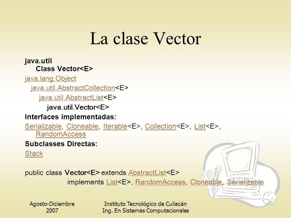 Agosto-Diciembre 2007 Instituto Tecnológico de Culiacán Ing. En Sistemas Computacionales La clase Vector java.util Class Vector java.lang.Object java.