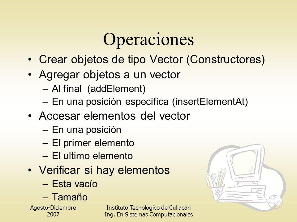Agosto-Diciembre 2007 Instituto Tecnológico de Culiacán Ing. En Sistemas Computacionales Operaciones Crear objetos de tipo Vector (Constructores) Agre