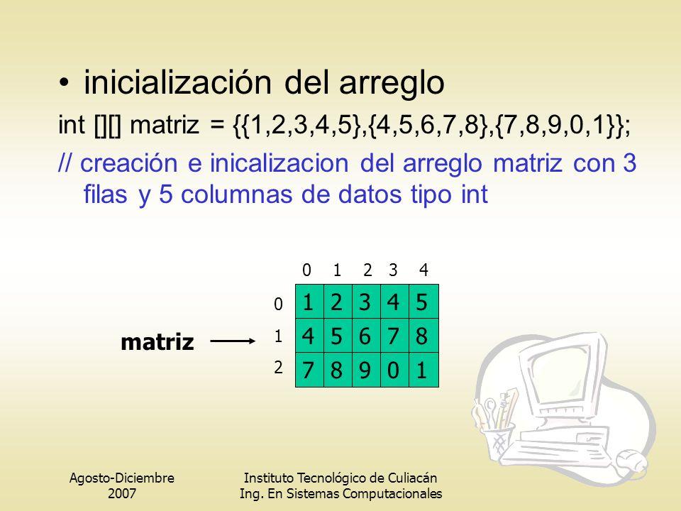 Agosto-Diciembre 2007 Instituto Tecnológico de Culiacán Ing. En Sistemas Computacionales inicialización del arreglo int [][] matriz = {{1,2,3,4,5},{4,