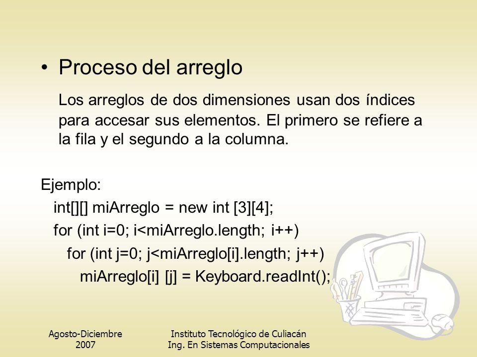 Agosto-Diciembre 2007 Instituto Tecnológico de Culiacán Ing. En Sistemas Computacionales Proceso del arreglo Los arreglos de dos dimensiones usan dos