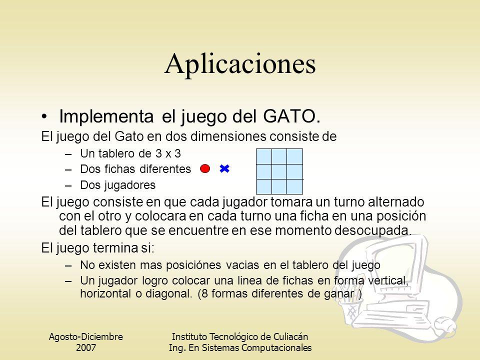 Agosto-Diciembre 2007 Instituto Tecnológico de Culiacán Ing. En Sistemas Computacionales Aplicaciones Implementa el juego del GATO. El juego del Gato
