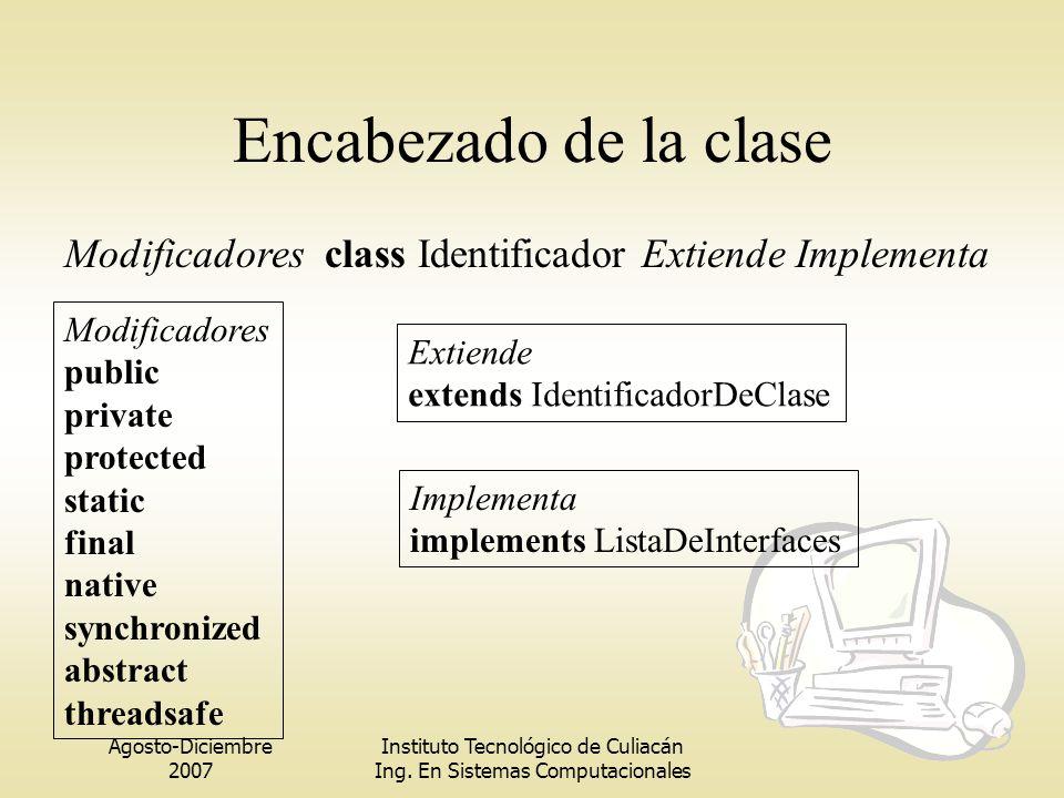 Agosto-Diciembre 2007 Instituto Tecnológico de Culiacán Ing. En Sistemas Computacionales Encabezado de la clase Modificadores class Identificador Exti