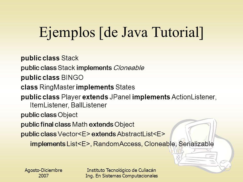 Agosto-Diciembre 2007 Instituto Tecnológico de Culiacán Ing. En Sistemas Computacionales Ejemplos [de Java Tutorial] public class Stack public class S