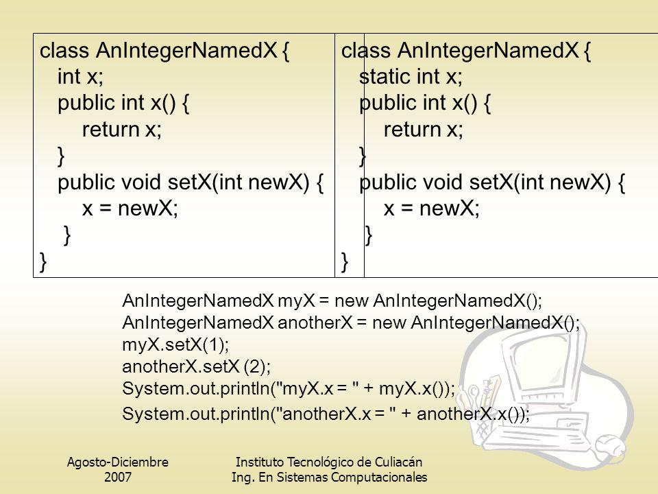 Agosto-Diciembre 2007 Instituto Tecnológico de Culiacán Ing. En Sistemas Computacionales class AnIntegerNamedX { int x; public int x() { return x; } p