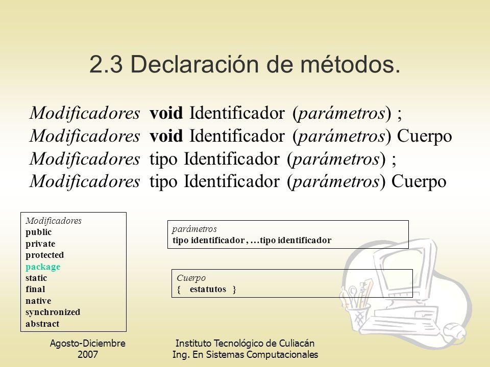 Agosto-Diciembre 2007 Instituto Tecnológico de Culiacán Ing. En Sistemas Computacionales 2.3 Declaración de métodos. Modificadores void Identificador