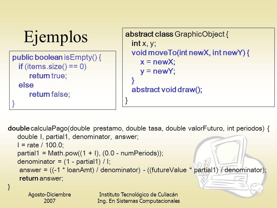 Agosto-Diciembre 2007 Instituto Tecnológico de Culiacán Ing. En Sistemas Computacionales Ejemplos public boolean isEmpty() { if (items.size() == 0) re