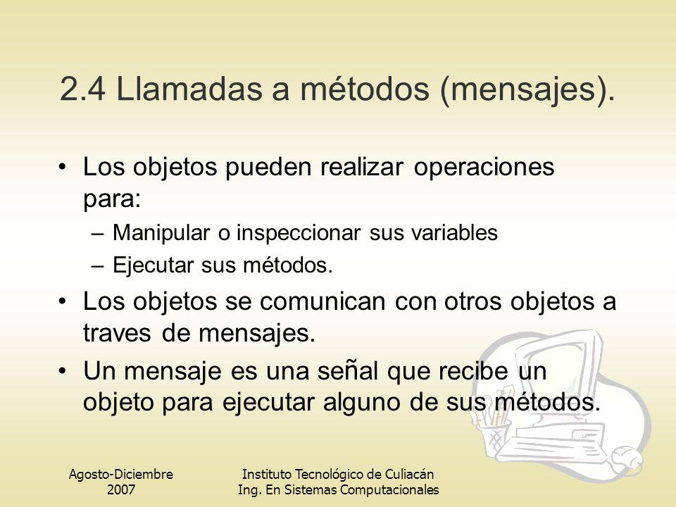 Agosto-Diciembre 2007 Instituto Tecnológico de Culiacán Ing. En Sistemas Computacionales 2.4 Llamadas a métodos (mensajes). Los objetos pueden realiza