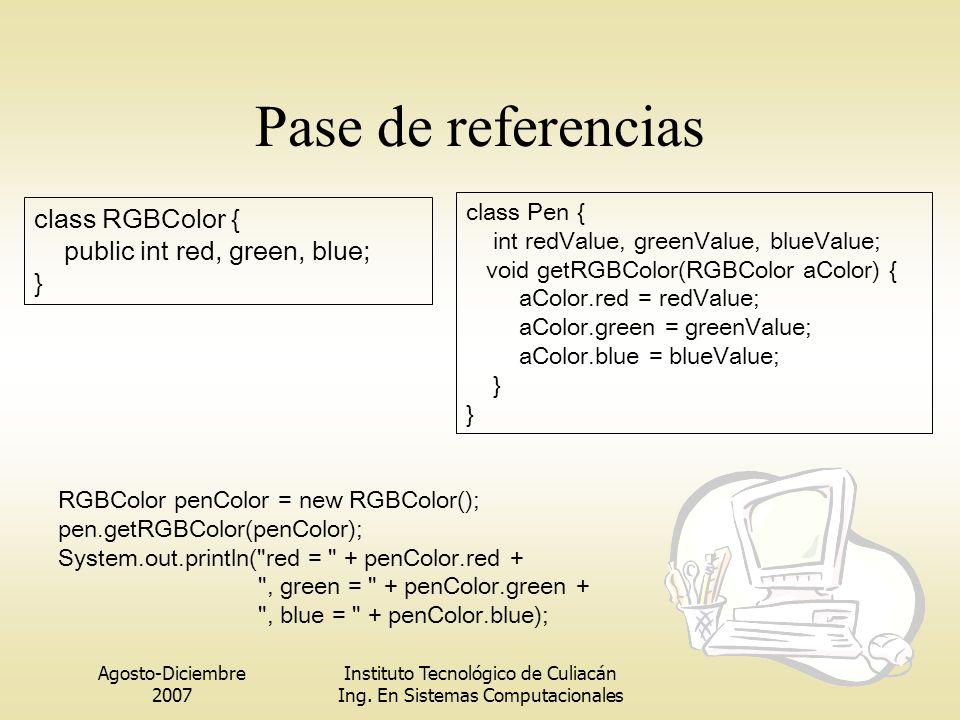 Agosto-Diciembre 2007 Instituto Tecnológico de Culiacán Ing. En Sistemas Computacionales Pase de referencias class RGBColor { public int red, green, b