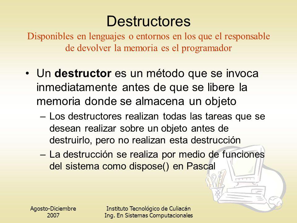 Agosto-Diciembre 2007 Instituto Tecnológico de Culiacán Ing. En Sistemas Computacionales Destructores Disponibles en lenguajes o entornos en los que e