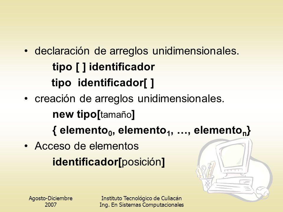 Agosto-Diciembre 2007 Instituto Tecnológico de Culiacán Ing. En Sistemas Computacionales declaración de arreglos unidimensionales. tipo [ ] identifica