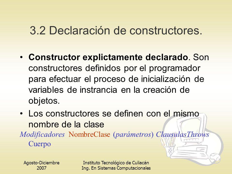 Agosto-Diciembre 2007 Instituto Tecnológico de Culiacán Ing. En Sistemas Computacionales 3.2 Declaración de constructores. Constructor explictamente d