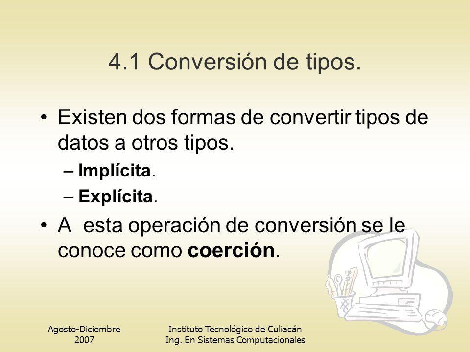 Agosto-Diciembre 2007 Instituto Tecnológico de Culiacán Ing. En Sistemas Computacionales 4.1 Conversión de tipos. Existen dos formas de convertir tipo