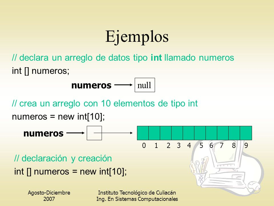 Agosto-Diciembre 2007 Instituto Tecnológico de Culiacán Ing. En Sistemas Computacionales numeros null 0 1 2 3 4 5 6 7 8 9 numeros // crea un arreglo c