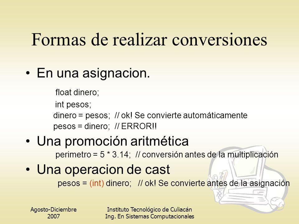 Agosto-Diciembre 2007 Instituto Tecnológico de Culiacán Ing. En Sistemas Computacionales Formas de realizar conversiones En una asignacion. float dine
