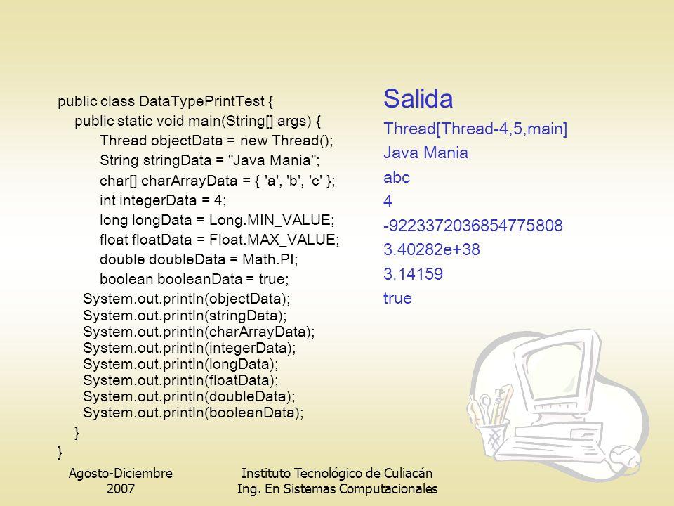 Agosto-Diciembre 2007 Instituto Tecnológico de Culiacán Ing. En Sistemas Computacionales public class DataTypePrintTest { public static void main(Stri